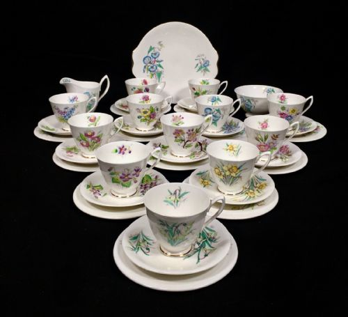 Royal Albert Flowers Of The Month Tea Set / Trio's Cup Saucer / Vintage China